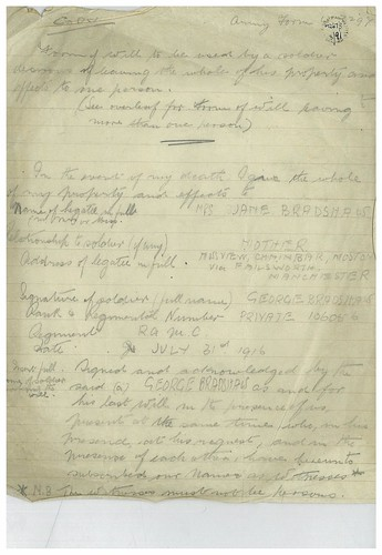 First World War, a copy of George Bardshaw's will, page 1