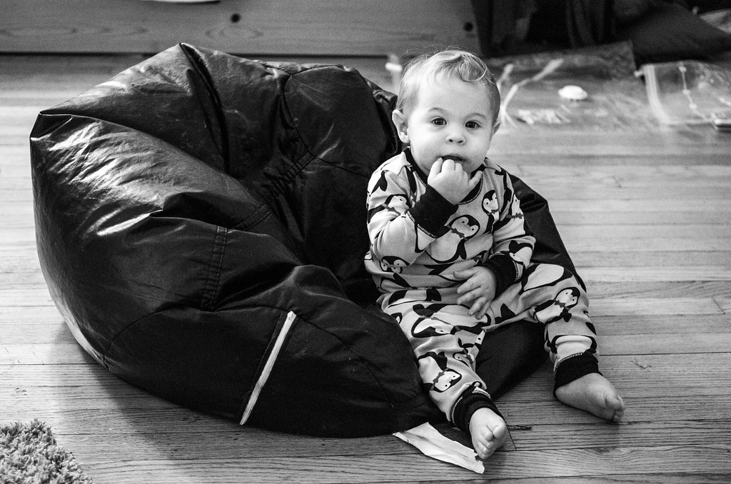 Micah In the Bean Bag - BW