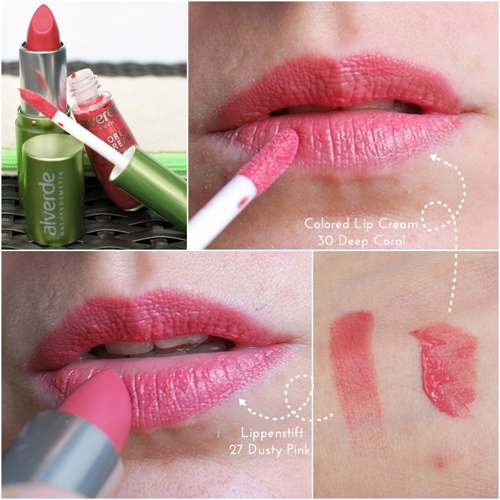 alverde Colored Lip Cream 30 Deep Coral | Lippenstift 27 Dusty Pink