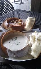 Clam bread bowl soup