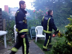 firemen in our backgarden