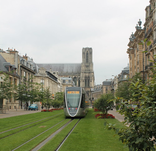 Tram and cathedral in Reims