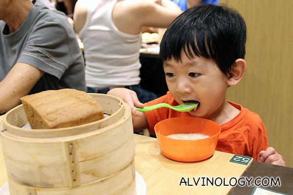 Asher enjoying his meal