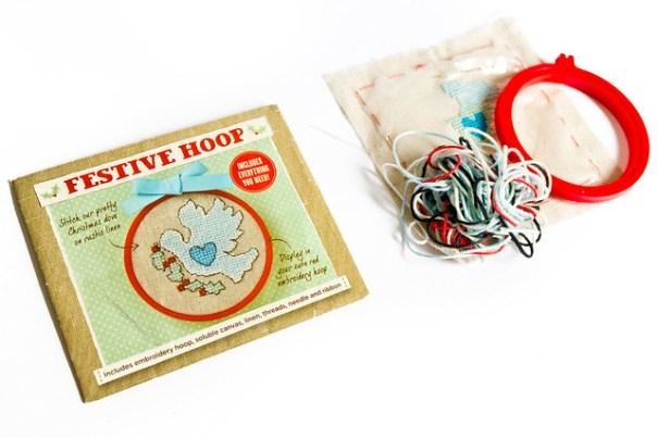 Festive hoop kit cross stitch kit