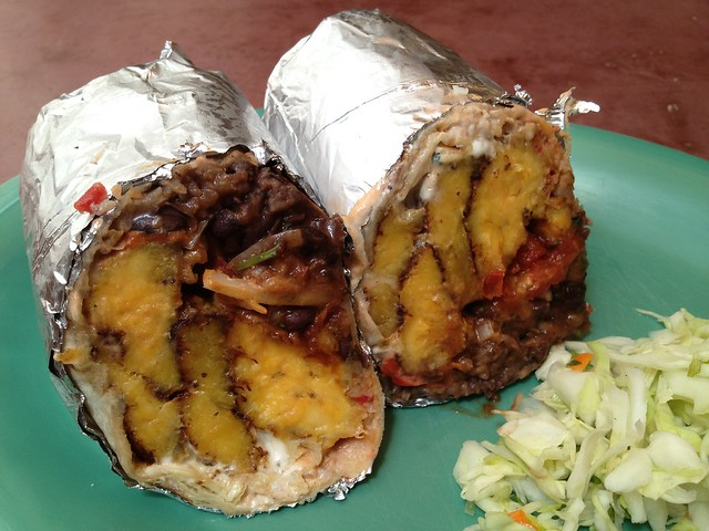 Fried plantain and black bean burrito - The Little Chihuahua
