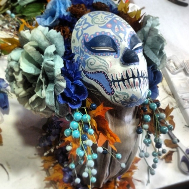 Hello from #blue roses and berries #harvest #Muertita ! #diadelosmuertos #dayofthedead #calavera #sugarskull #art