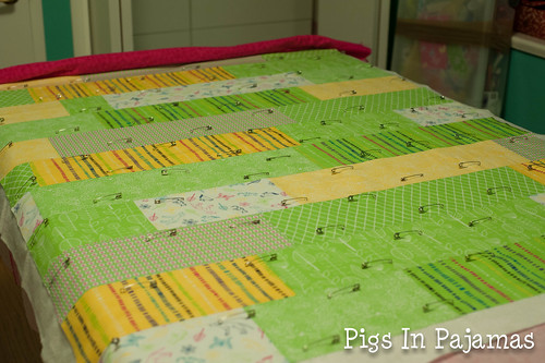 Baby quilt pinning