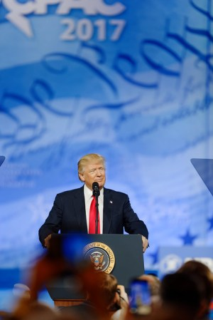 President of the United States Donald J. Trump at CPAC 2017 February 24th 2017 by Michael Vadon from Flickr via Wylio