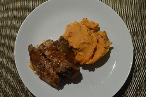 Slow cooked cinnamon lamb with sweet potato mash