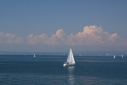 Yachts in international waters in Central Europe (Bodensee)