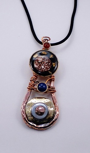 pendant Copper, brass, epoxy,pigment,gold flakes, galvanized steel, brown dotted shell, Lapis lazuli10mm, Carnelian7mm by Wolfgang Schweizer