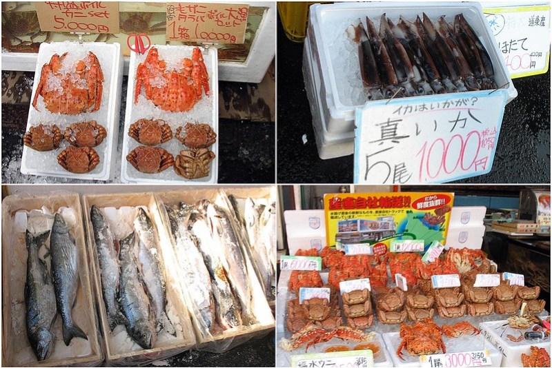 函館朝市的露天魚貨