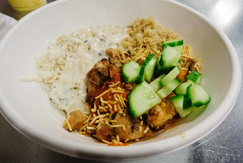 Rice Plate with Vindaloo Chicken and Cucumbers