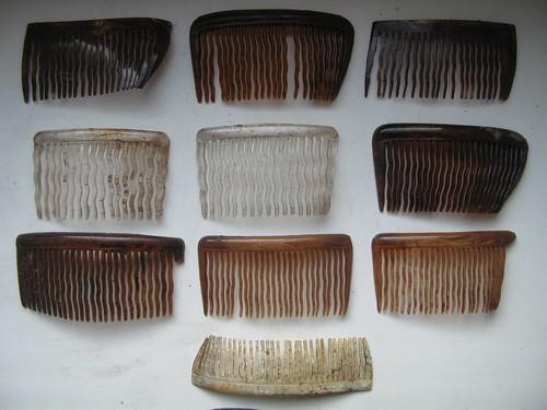 13. Zbiór grzebieni do formowania fryzur odnalezionych przy ciałach.