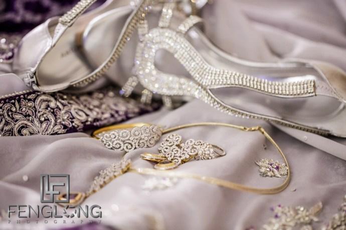 Kanwal's wedding reception shoes on her lehenga