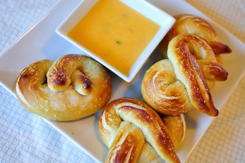 Soft Pretzels with Jalapeno Cilantro Cheese Sauce