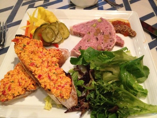 Picnic Plate: pimento cheese, toast, housemade pâté, pickled vegetables, petite salad at Slightly North of Broad, Charleston SC