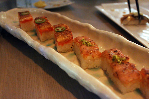 Aburi Salmon Oshi Sushi & Aburi Ebi Oshi Sushi