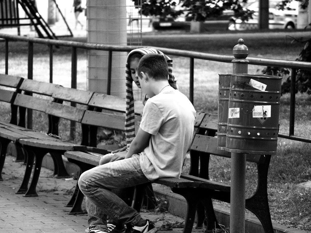 Girl and Boy on the Bench (remastered)
