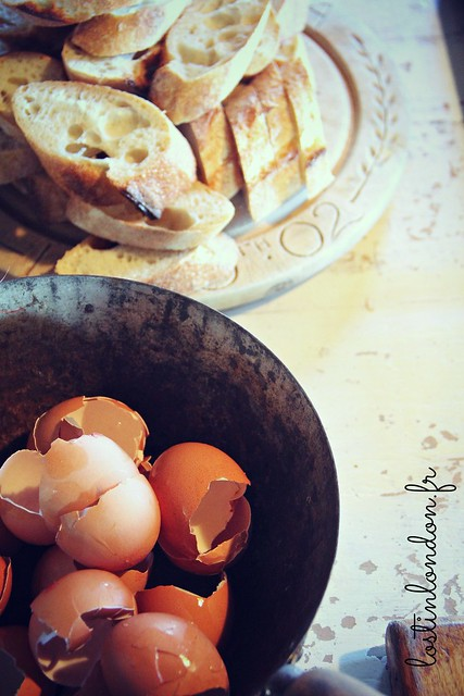 egg shells and bread