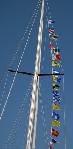 flags on a tall ship
