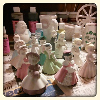 First coat, in progress. #ceramics #slipcast #painting #figurines