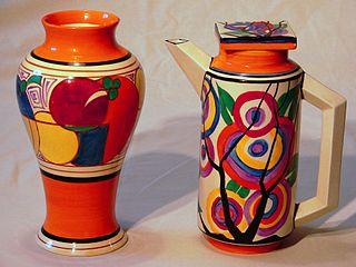 Clarice Cliff Melon shape 14 vase and Circle Tree Eton shape coffee pot circa 1930