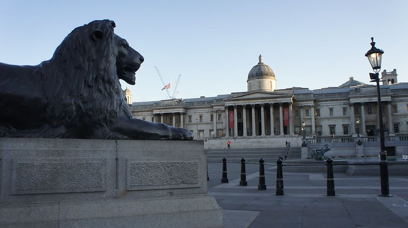 National Museum and Trafalgar Square Lions