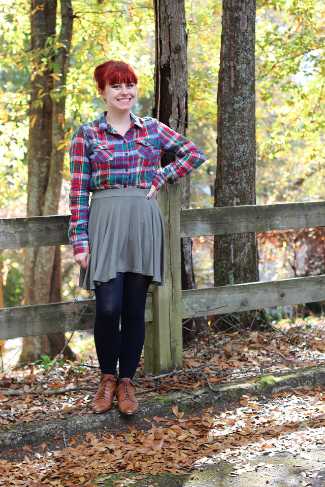Flannel Shirt Skater Skirt Amp A Red Bow On A Bouffant
