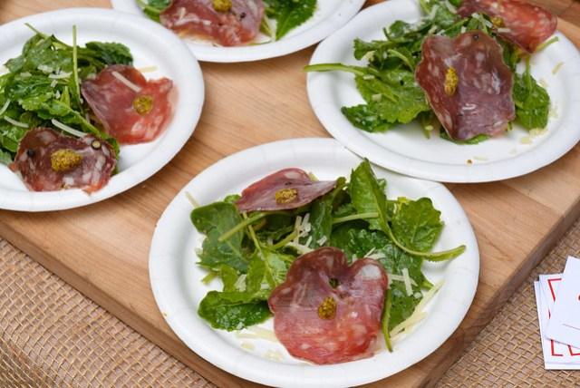 Tender Greens salami & kale salad; chilled heirloom gazpacho; mini upside-down grape cake