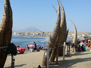 Reed boats drying on the beach at Huanchaco