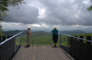 Mom and Glynda at Sassafras Mountain