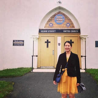 Mei outside the church