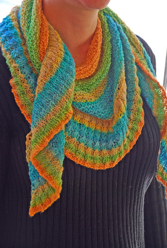 knit handspun shawl in citrus colours
