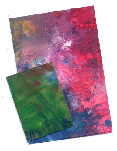ATC and Postcard: Abstract melted crayon print