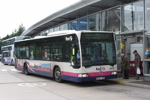 Mercedes Citaro, W335 JND, First Greater Manchester, Oldham bus station
