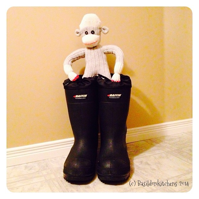 30/1/2014 - not mine {...says Mr Sock Monkey!} #photoaday #notmine #mrsockmonkey #boots #toobig #funny #humour #sockmonkey