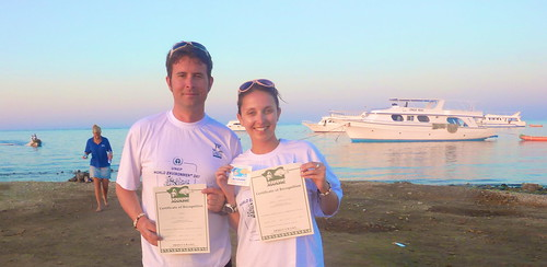 Karli and Guy getting certified for an underwater clean-up in Marsa Alam, Egypt