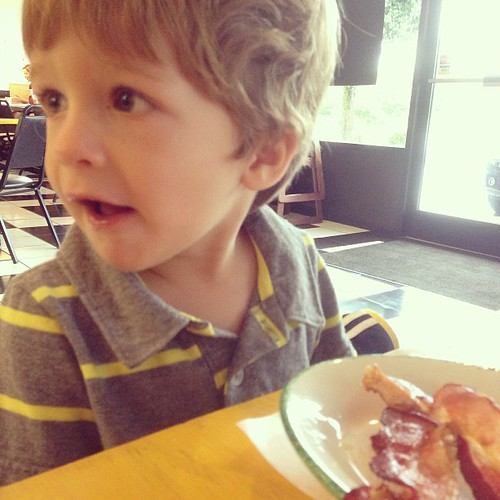 Bacon breakfast with my boys.  Feeling grateful for an unexpected Saturday off with them!