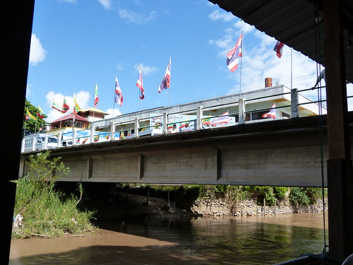 Thai flags on one side Myanmar flags on the other