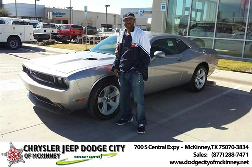 Thank you to Demarcus Bateman on your new 2014 #Dodge #Challenger from Bobby Crosby and everyone at Dodge City of McKinney! #NewCar by Dodge City McKinney Texas