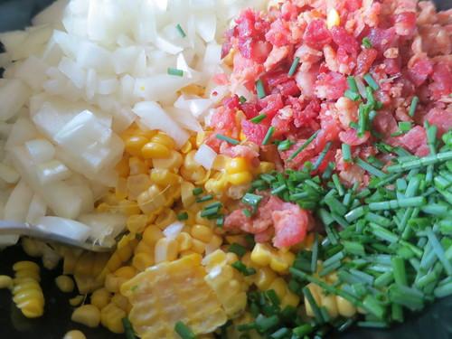Corn, bacon and onion quiche