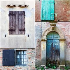 Drei Fenster mit einer Tür