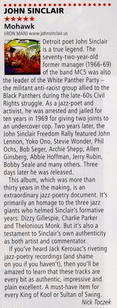 John Sinclair - Mohawk Mohawk Rock N Reel/R2 Magazine album review March/April 2014