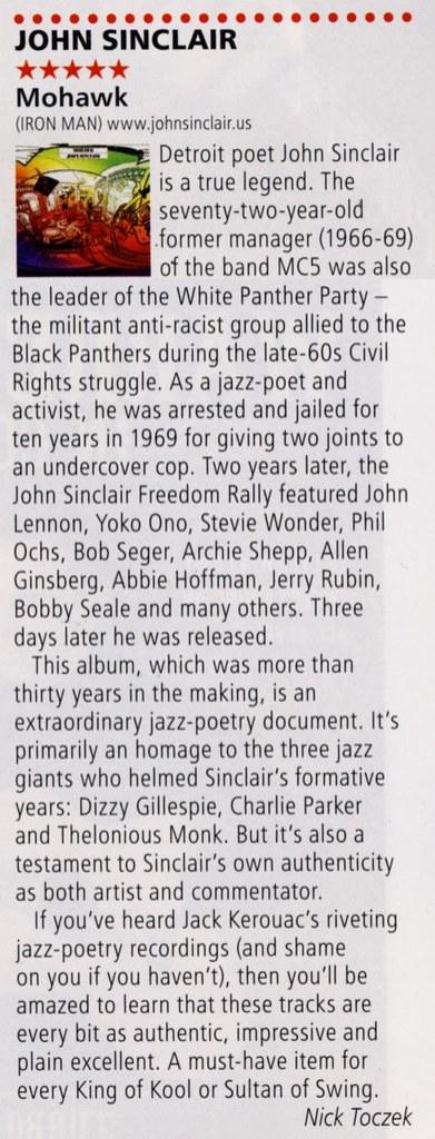 John Sinclair - Mohawk Mohawk Rock N Reel/R2 Magazine album review March/April 2014