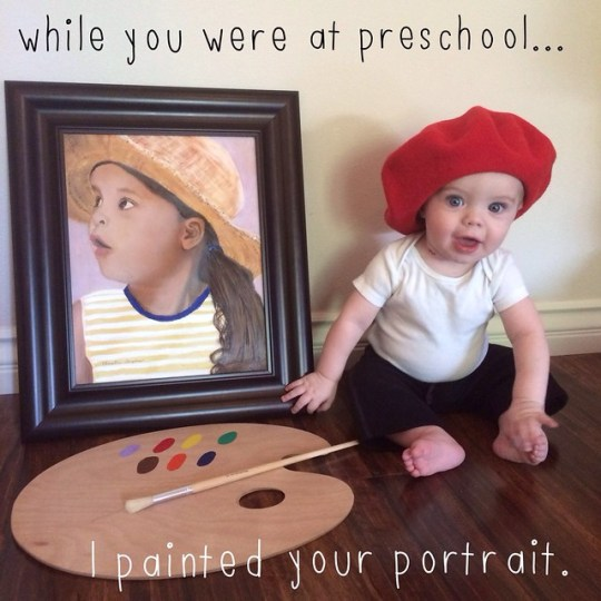 while you were at preschool...I painted your portrait.