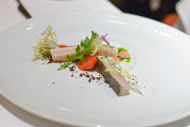 wild spanish mackerel favas, arugula, artichoke, radish