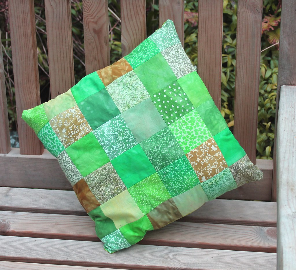 green patchwork cushion