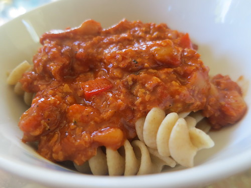 Chorizo and red pepper rotini