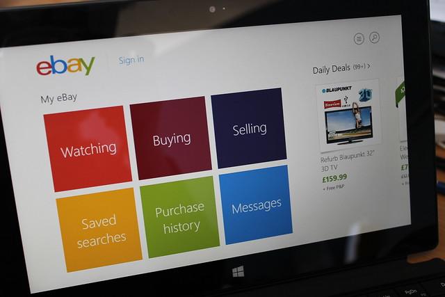 eBay on a Surface RT